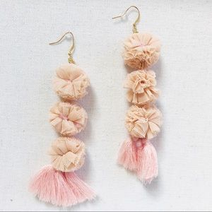 3 X 3 Pom Pom and tassel earrings